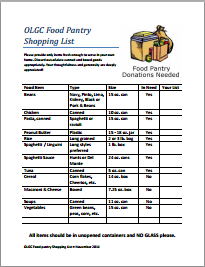 Click here for Food Pantry Shopping List